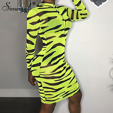 Simenual Sexy Hot Transparent Women Dress Long Sleeve Zebra Print Zipper Dresses 2019 Fashion Neon Color Bodycon Slim New