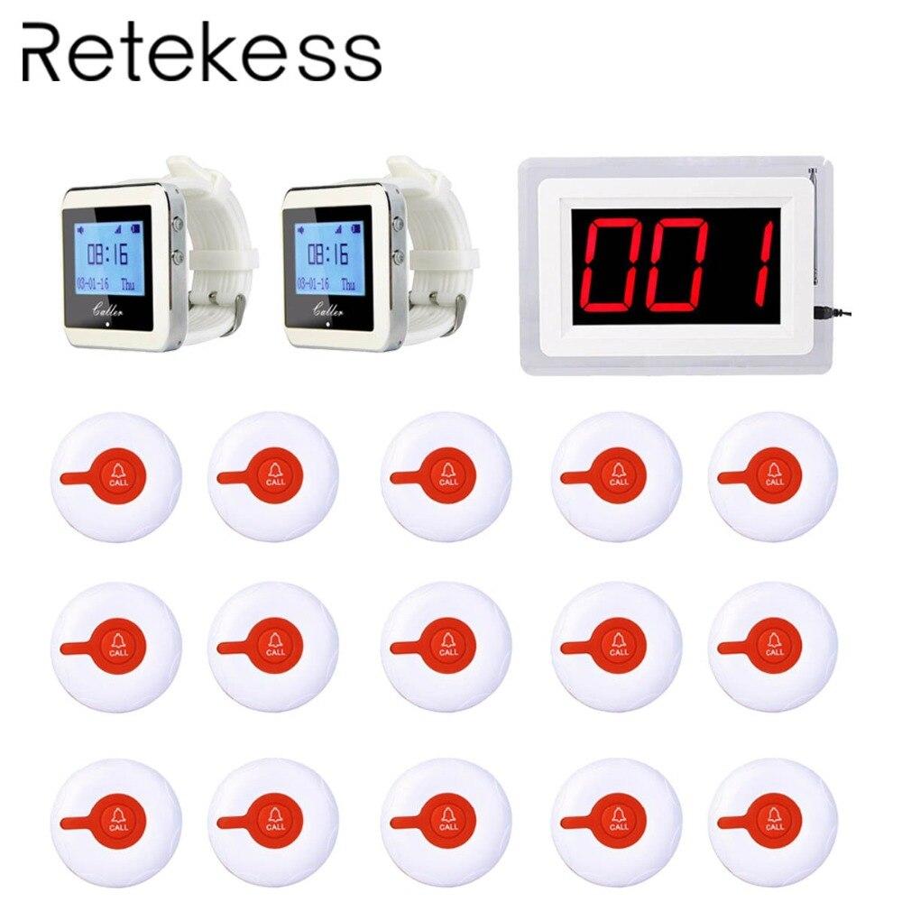 Hospital Sistema de Chamada de Enfermeira Sem Fio Pagers Para Paciente 1 Receiver Anfitrião + Relógio Botão de Chamada Transmissor Receptor + 15 2 f3288B