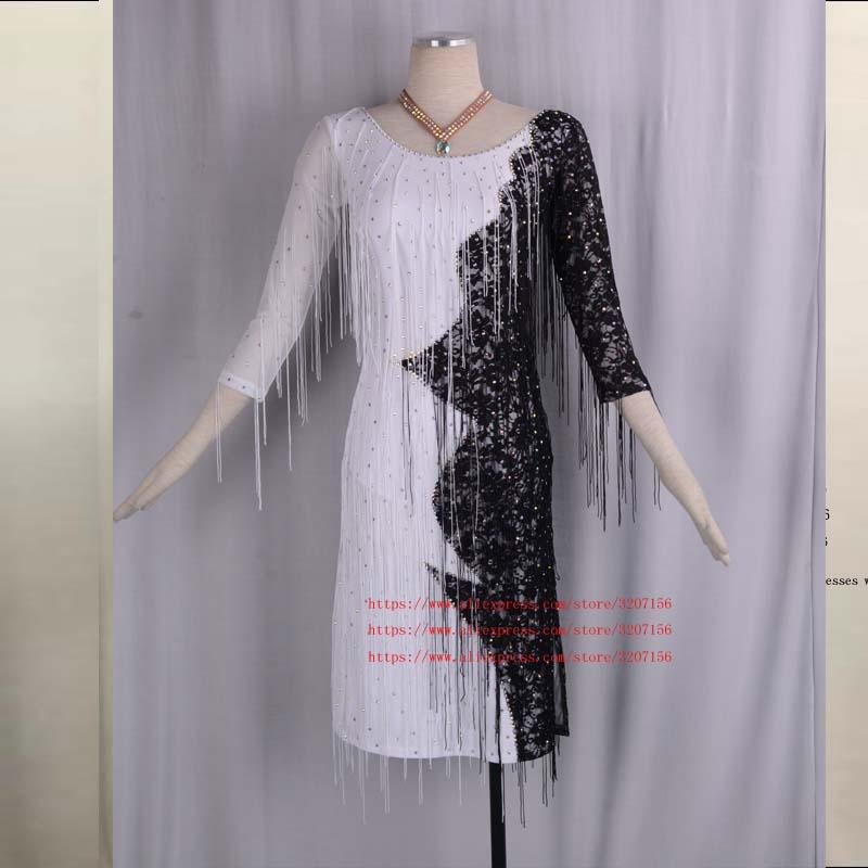 Латинской платье для спортивных танцев Одежда Для женщин V шеи Fringe лайкра Salsa костюм для танго одежда с боди бюстгальтер Индивидуальные