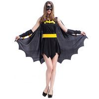 2019 Sexy Bat dresses Costume Batman spiderman Dark Knight Halloween Cosplay for Women Adult Devil Witch Vampire Costume Set