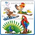 Mini Qute kawaii LOZ Animales Pollo Peafowl Loro Águila damond bloque cubo de plástico bloques de construcción de ladrillos de juguetes educativos