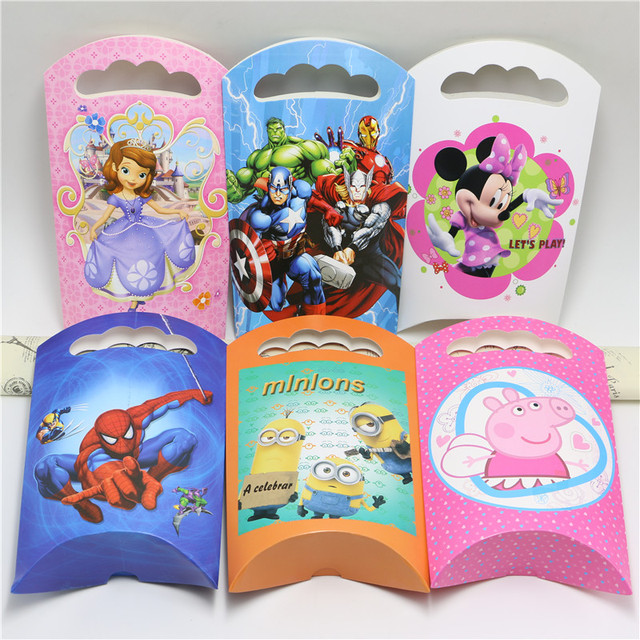 8pcs Lot Minion Minnie Avengers Spiderman Goody Bag Boys Party Gift Birthday Decorations Kids Favor Suppliers