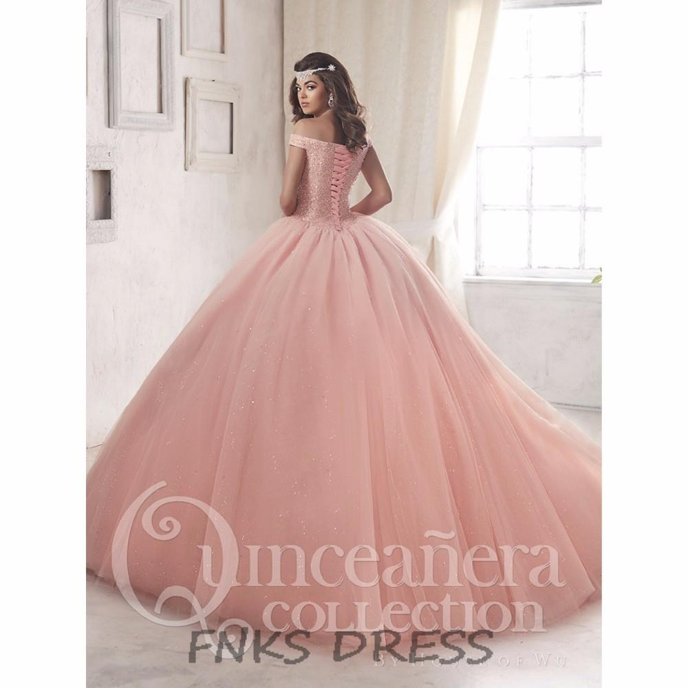 Off Shoulder Princess Peach Pink Quinceanera Dresses vestidos de 15 anos  Pageant Beading Corset Ball Gown Sweet 16 Dress QD20-in Quinceanera Dresses  from ... cf538d8c9614