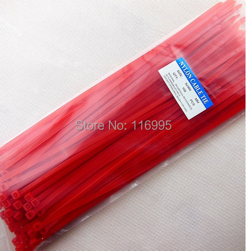 Free shipping 50pcs Self-locking nylon cable ties / 5 * 300mm  RED optional / plastic cable straps