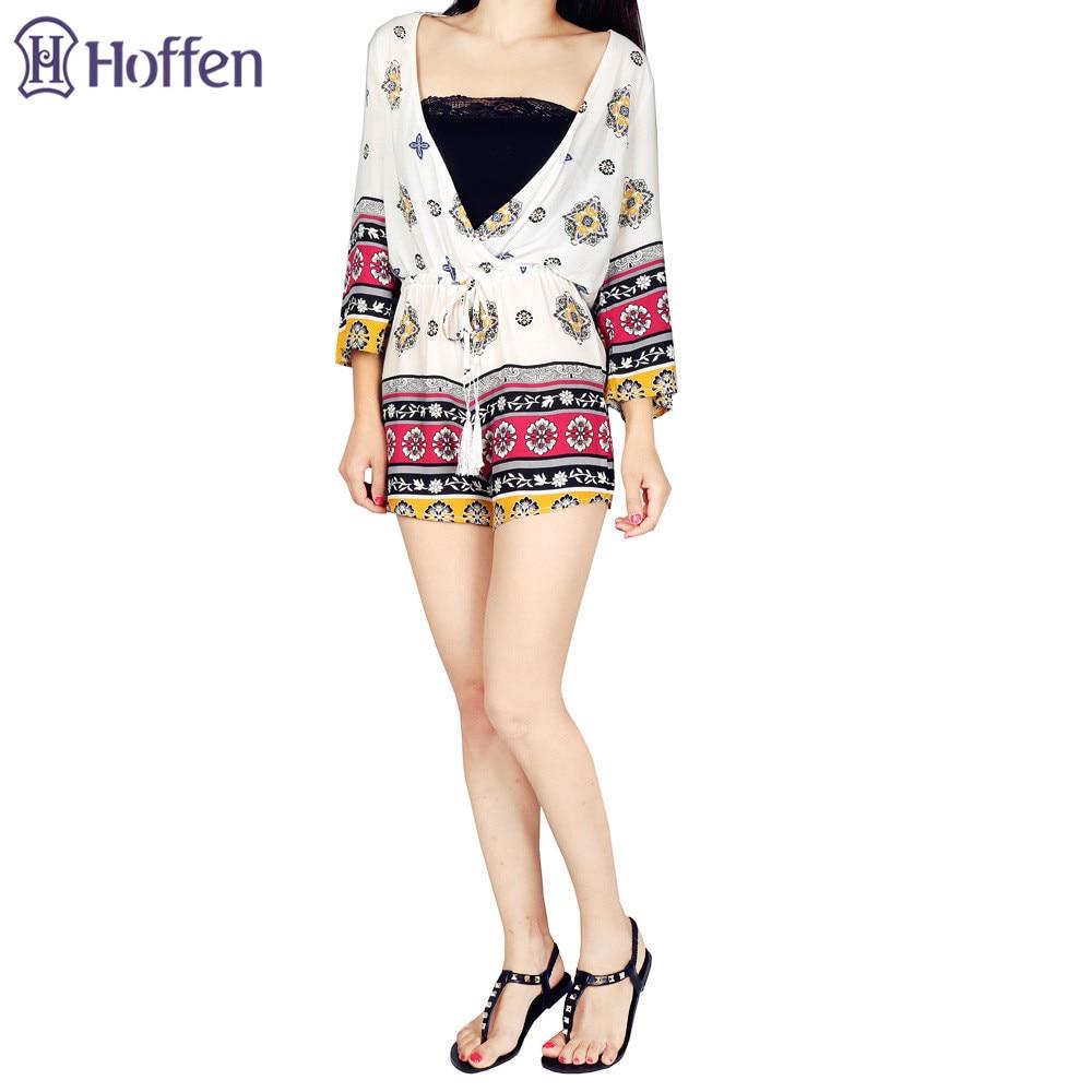 Hoffen Fashion Floral Print Playsuits Sexy głębokie dekolt w serek - Ubrania Damskie - Zdjęcie 3