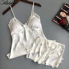 0752e6e063 DeRuiLaDy Sling Sexy pijama acolchado cómodo pijamas de seda para las  mujeres moda sólido mujeres pijamas Sexy v-cuello pijama e.
