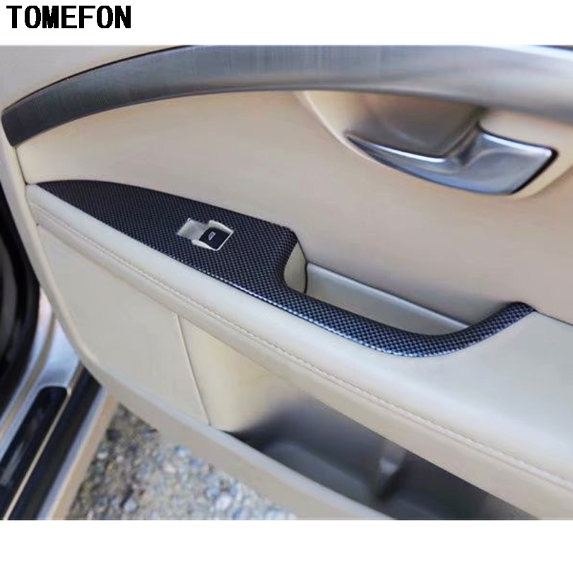 TOMEFON For Volvo S80 2009 to 2011 ABS Special Carbon Fiber Paint Interior Front Rear Door Window Switch Cover Panel Trim 4pcs citall 4pcs car interior abs matte chrome door window switch console panel cover trim for toyota highlander 2014 2015 2016 2017