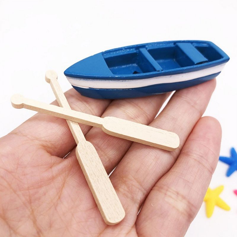 1/12 Dollhouse Boat Oar Doll House Miniatures Lovely Cute Fairy Garden Bonsai Sea Ocean Marine Decor Crafts