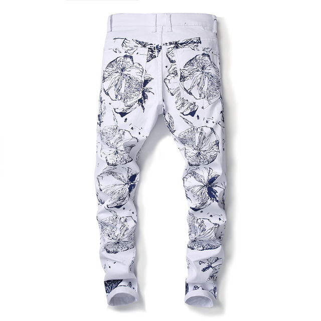 Sokotoo Men's 3D printed white jeans Fashion painted slim fit stretch denim pencil pants