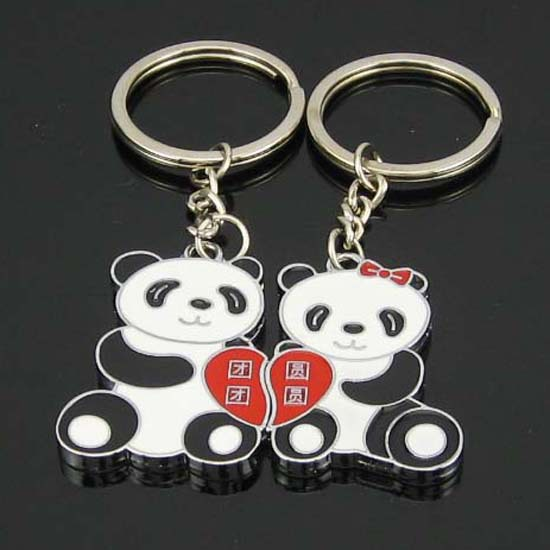 1 Pair Lover Gift Panda Couple Keyring Keyfob Valentine's Day Keychain Ring Llaveros Free Shipping