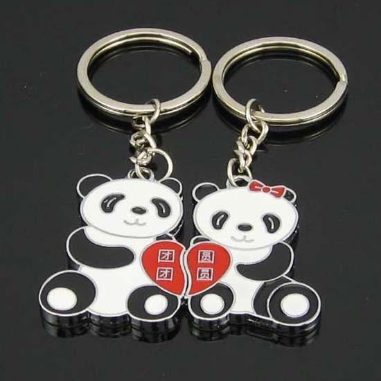1 Pair Lover Gift Panda Couple Keyring Keyfob Valentine's Day Keychain Ring Llaveros Free Shipping