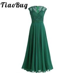 Tiaobug 2018 verde/preto vestidos de dama de honra das mulheres vestidos de festa formal pageant vestido longo baile de formatura tule rendas maxi adultos vestidos