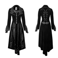 Punk Rock Women New Stylish Gohtic Long Coat Black Color Embroidery Long Sleeve Jackets Plus Size XXXL With Single Breasted