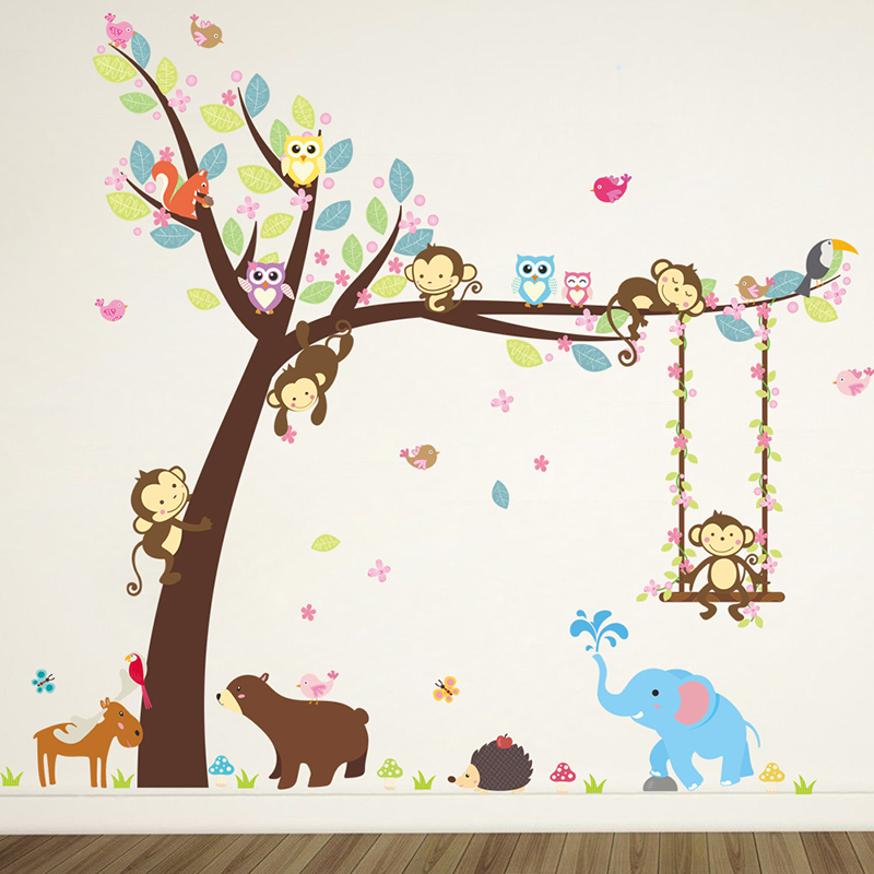 Monkey Swing Climb Tree Wall Stickers For Kids Room Jungle Wild Animals Decorations Home Living Room Decor Wall Mural Art Poster