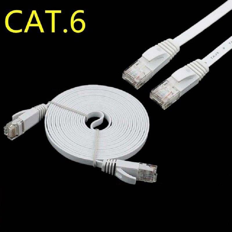 50pcs lot Pure copper wire CAT6 Flat UTP Ethernet Network Cable 0 5m 2ft RJ45 Patch LAN cable black white color