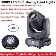 Spot Beam Moving Head Lights 200W LED Gobo With 24Pcs 0.5W RGB Lamp Beads Professional Dj luzes Equipments