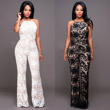2016 new style brand fashion backless club wear full length lace rompers overalls sexy rompers