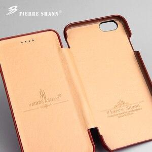 Image 5 - Fierre Shann Super luxe étuis en cuir véritable pour iPhone 6 6S 7 7plus 8 8plus 11 Pro X XR XS Max S étui de téléphone à rabat coque de couverture