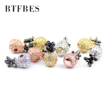 BTFBES 9*17mm Ananas Copper Beads Pendant Bracelet White Zircon Charms Spacer Loose beads Jewelry bracelets making DIY Pineapple