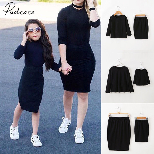 d6c54cc93287 2018 Brand New Family Matching Sets Mother Daughter Clothes Sets Clothes  Solid Black Sweatshirt Tops Skirts 2PCS Outfit Autumn