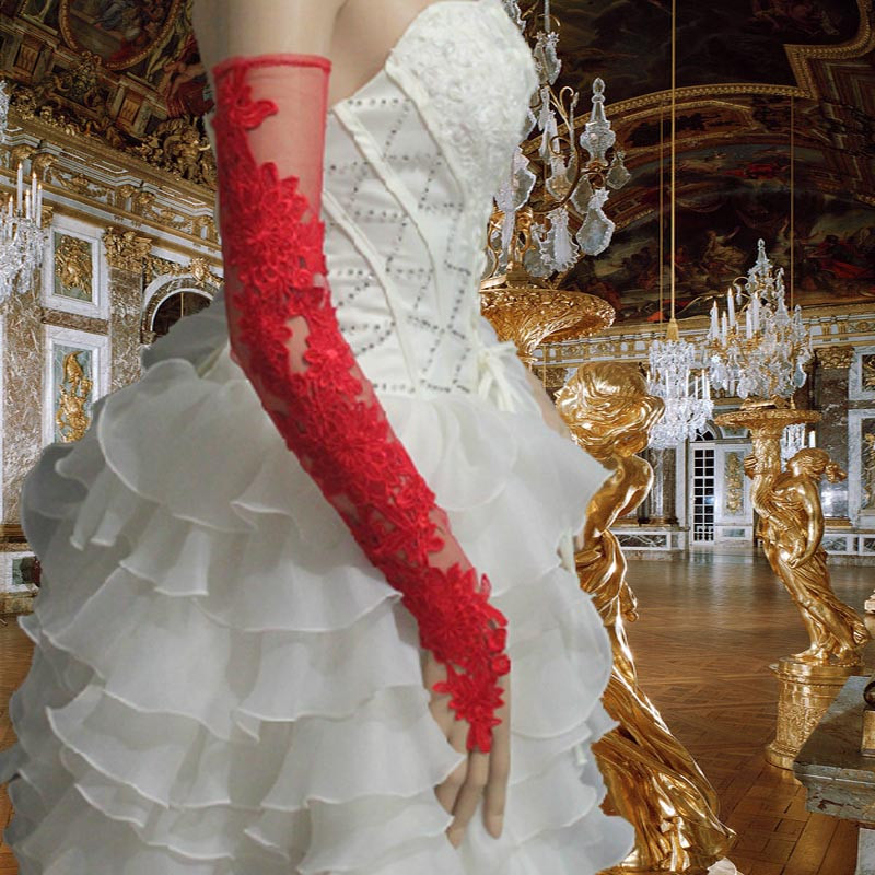 2019 Hot Sale Opera Long Red Fingerless Lace Wedding Gloves Women Bridal Party Gift Dance Gloves For Women