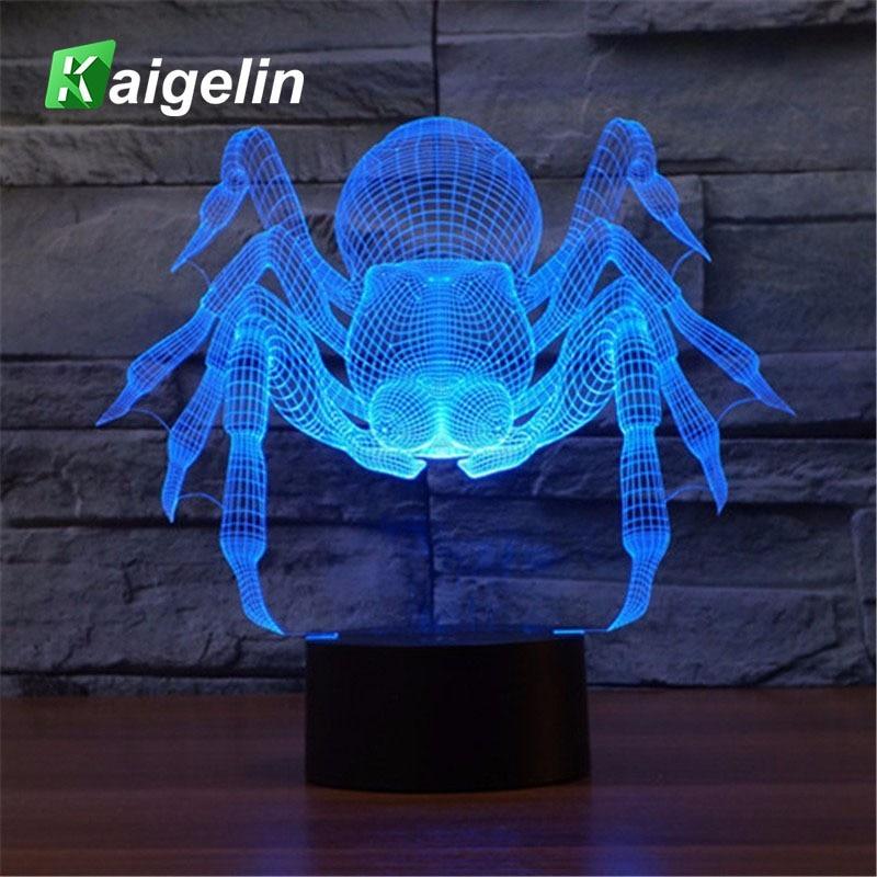 Novelty LED 3D Night Light Spider Shape 7 Colors Touch Sensor USB Charge Desk Luminaria Lamp Table Lamp Atmosphere Night Light 3d table lamp luminaria led night light