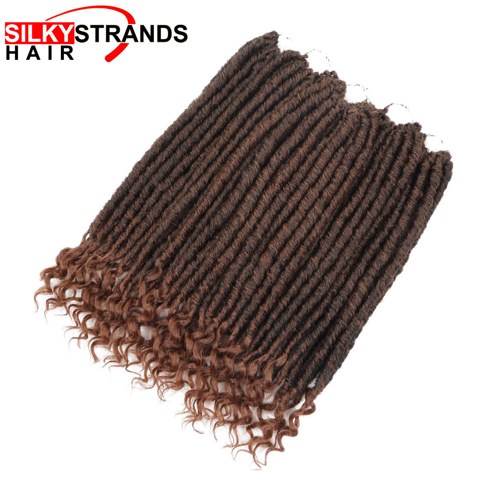 Silky Strands 14inch Soft Faux Locs Curly Crochet Braids Synthetic Hair Extension Crochet Hair Ombre Braids Goddess Hairstyle