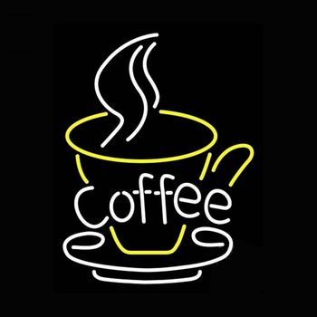 Coffee Cafe Glass Neon Light Sign Beer Bar