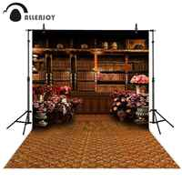 Allenjoy photography backdrop vintage bookshelf classical library flower school background photocall photobooth studio shoot