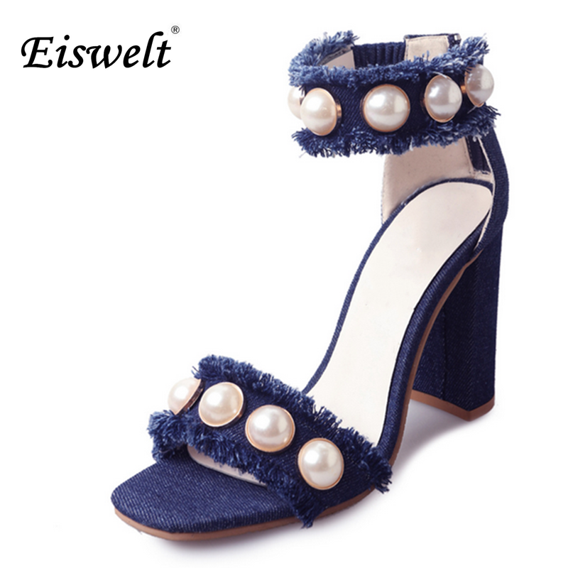 Eiswelt Fashion Summer Women Shoes 2017 Jeans High Heels Shoes Woman Pearl Denim Party Gladiator Sandals Women Sandals#EGMJ109