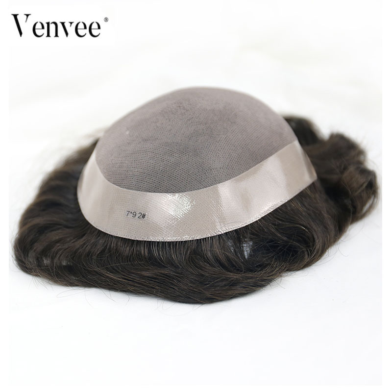 Hair Toupee Men Mono System Natural Looking 100% European Human Hair Toupee PU Replacement System VenVee Remy Hair