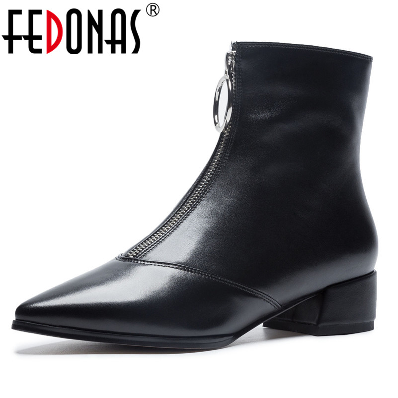 FEDONAS Brand Women Ankle Boots Thick High Heels Motorcycle Boots Pointed Toe Metal Buckles Martin Shoes Woman Punk Party Boots цены онлайн