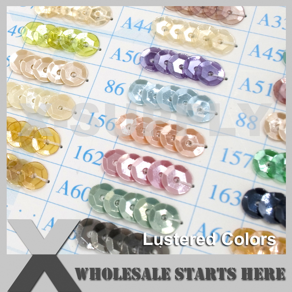 (Lustered Colors) Round Flat or Cup Loose Sequin Paillettes for Evening Dress,Costume,Nail Art (Contact Us For More Color)
