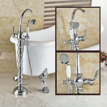 Luxury Floor Mount Single Handle Bathtub Shower Faucet Free Standing Tub Filler with Brass Handshower in