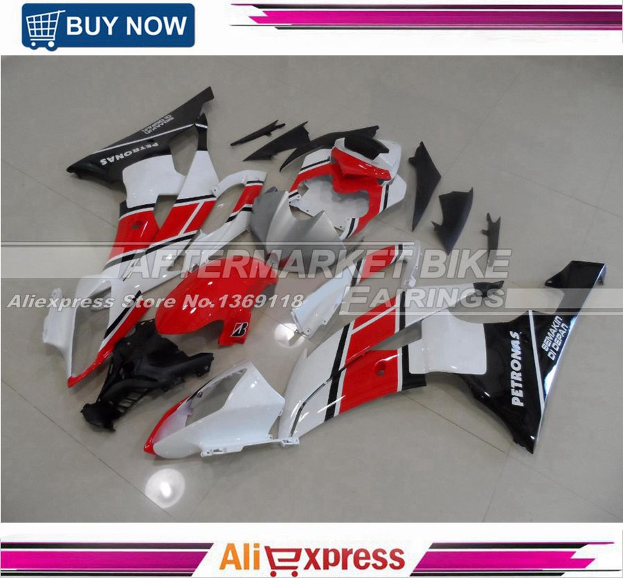 ABS Motorbike Fairing Kit For Yamaha YZF R6 2008 2009 2010 2011 2012 2013 2014 Complete Bodywork Black & Red & White car rear trunk security shield shade cargo cover for nissan qashqai 2008 2009 2010 2011 2012 2013 black beige