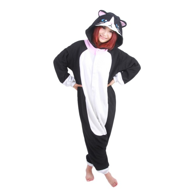 1c713c86fae6 Black Cat Onesie For Adult Unisex Fleece Pajamas Nighty Anime Animal ...