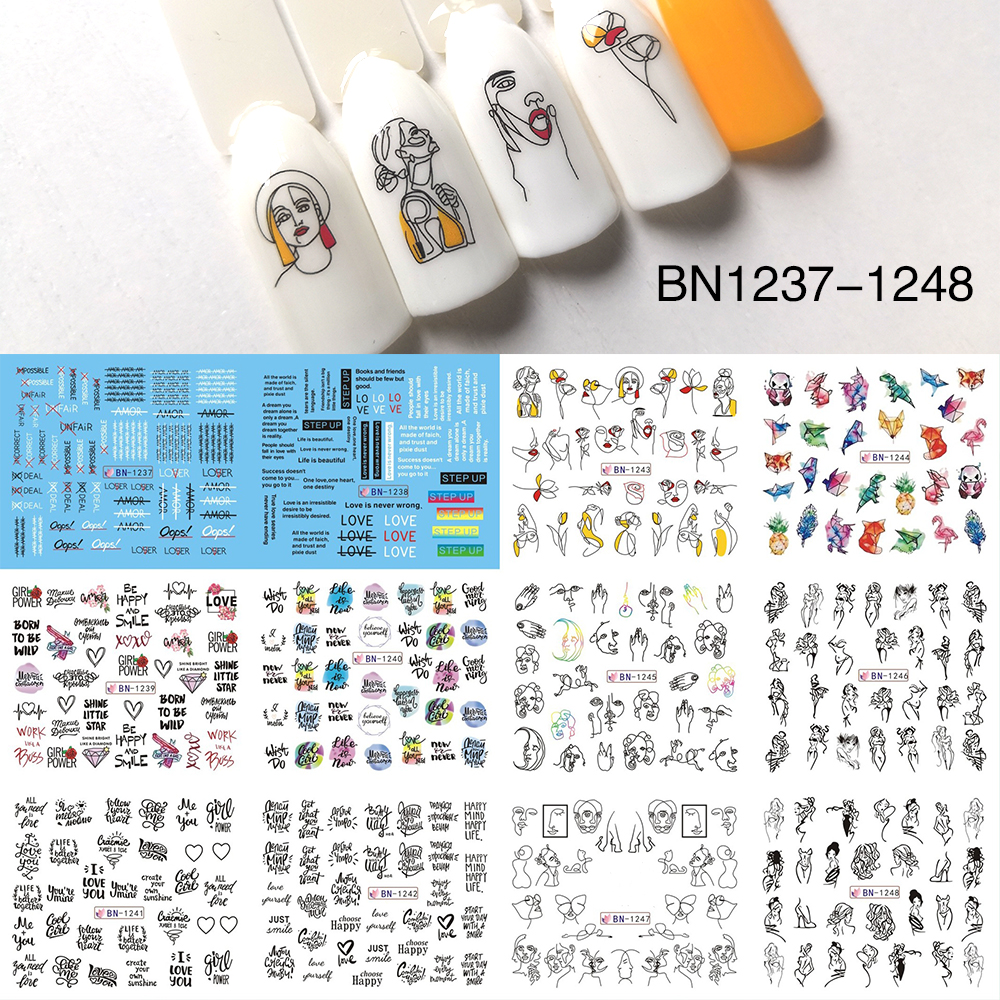 12 Type Nail Water Sticker Black Coloful Abstract Image Water Tranfer Nail Sticker Decoration Manicure Style Tool BN1237-1248