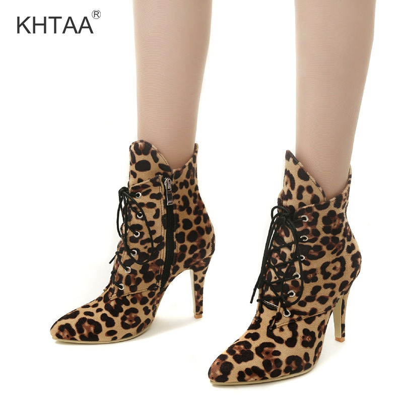 Leopard Print Mid Calf Women Boots Lace Up Pointed Toe High Heels Ladies Short Winter Boots 2018 Zipper European Fashion Shoes mary yanxi new fashion high heels women boots lace up pointed toe shoes mid calf worm boots thin heels elegant shoes big size43