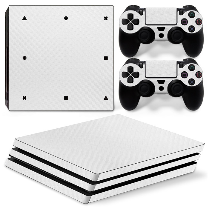 White Carbon Fiber Game Accessories Vinyl Decal Sticker for PS4 PRO Console