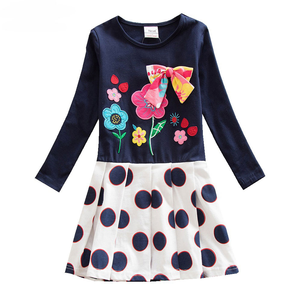 Girl-Dresses-NEAT-100-cotton-Girl-Clothing-brief-children-s-clothing-fashion-floral-printing-Girl-Long