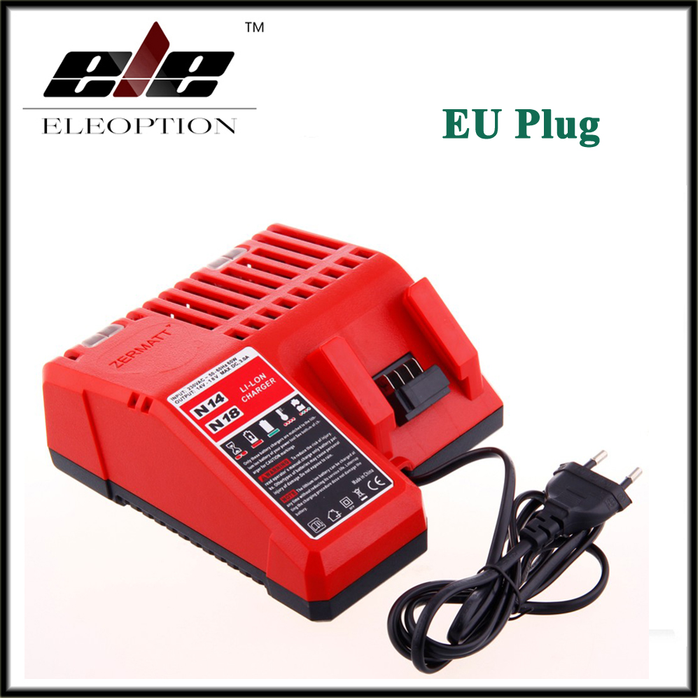 Eleoption M18 18V Charger for Milwaukee Li-ion Battery C18C C1418C 48-11-1820 48-11-1815 48-11-1840 48-11-1828 EU Plug