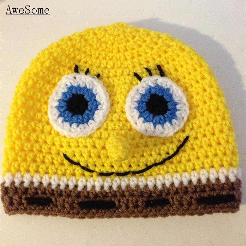 Novelty SpongeBob Beanie,Handmade Knit Crochet Baby Boy Girl Cartoon ...