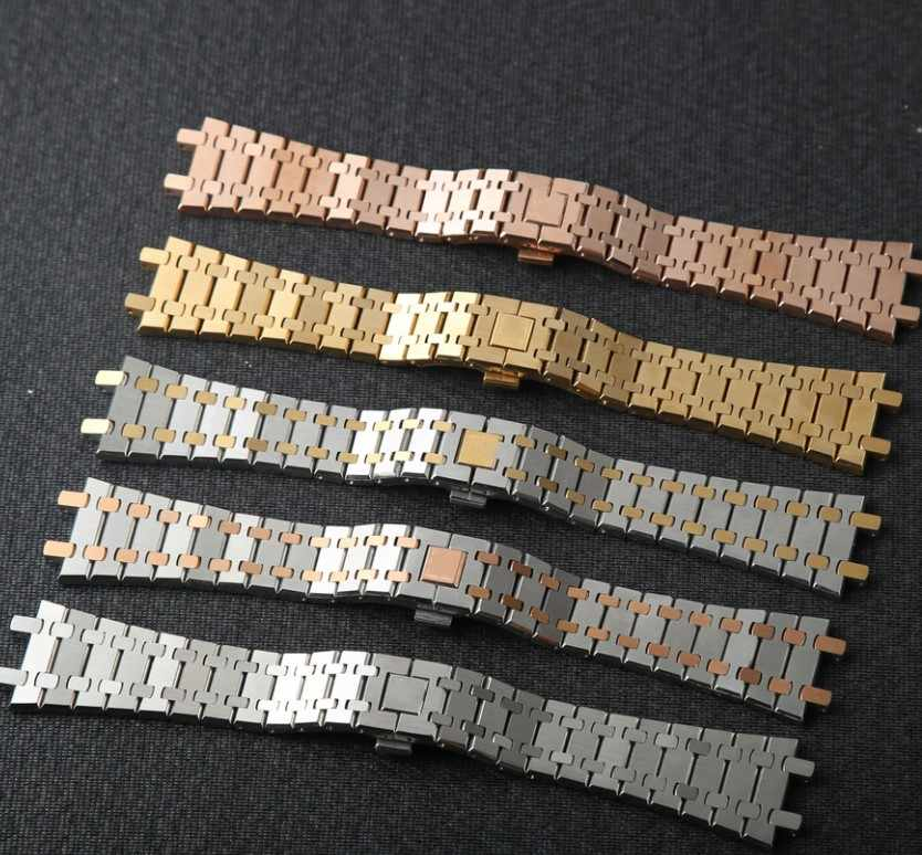 4208a0da405 Silver Gold Stainless Steel Strap Band For Audemars Piguet Watch Clasp  Buckle 26mm