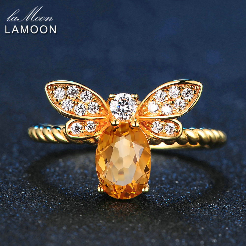 LAMOON Bee Rings for Women Natural Oval Citrine 925 Sterling Sølv Fine smykker Party Ring Fashion Tilbehør Anel RI019