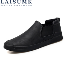 LAISUMK New Men Casual Set Of Feet Shoes Leather Autumn Brand Mens Males Flats Slip Breathable Solid Color