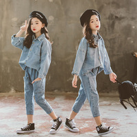 Girls Spring Costume New Children Long Sleeve Loose Outfits Denim Jackets Pencil Pants Two piece Fashionable Kids Clothes Sets