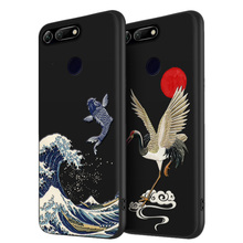 Honor 20 Great Emboss Phone case For Huawei PRO 20i ,Honor V20 cover Kanagawa Waves Carp Cranes 3D Giant relief