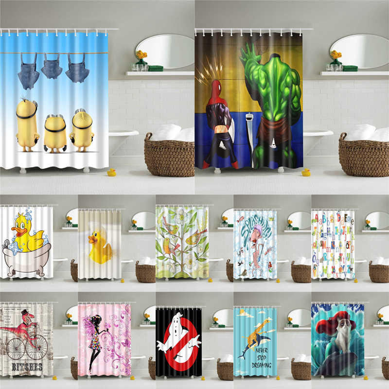 1PC Waterproof Polyester Fabric Shower Curtain with 12 Hooks Cartoon Bath Curtain Home Decoration Anime Bathroom Curtains