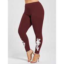 Plus Size Pants Casual Solid Skinny Appliqued Heather Women Pencil Pants Mid Elastic Waist XL-5XL