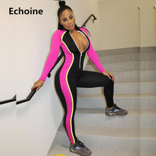 Women Skinny Jumpsuit Sporting Fitness Rompers Long Sleeve Colorful Patchwork Tracksuit Slim Bodycon Sexy Playsuit